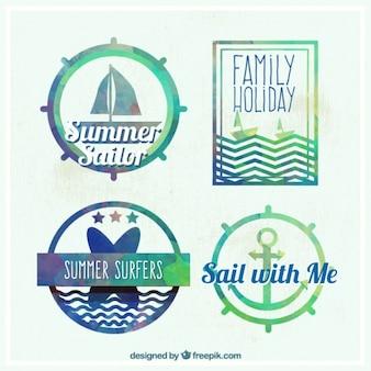 Aquarelle mignon badges marin