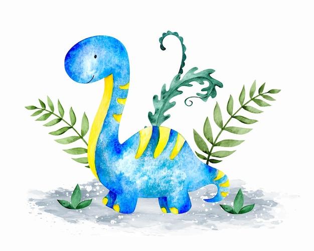 Aquarelle mignon bébé dinosaure