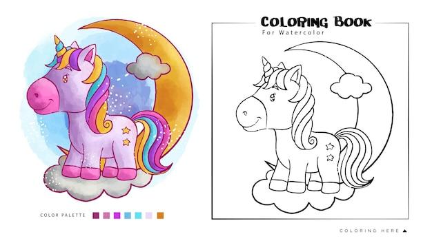 Aquarelle mignonne de licorne pour livre de coloriage