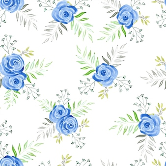 Aquarelle modèle sans couture avec bouquet de rose bleue