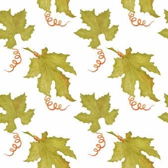 Aquarelle modèle sans couture avec des feuilles de citrouille