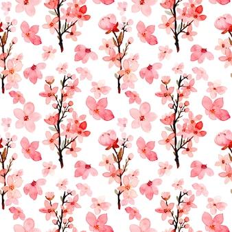 Aquarelle de modèle sans couture de fleurs de cerisier