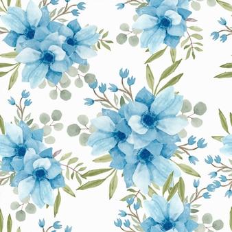 Aquarelle de modèle sans couture florale bleue