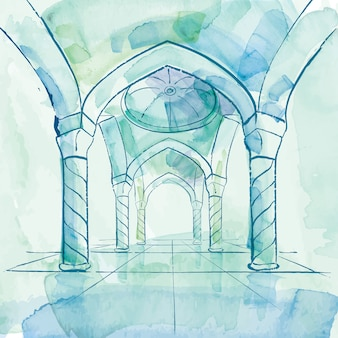 Aquarelle mosquée intérieur design islamique fond