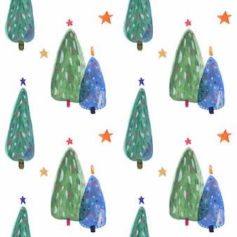 Aquarelle motif d'arbres de noël