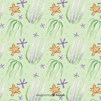 Aquarelle motif corail