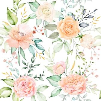 Aquarelle motif floral et feuilles sans soudure