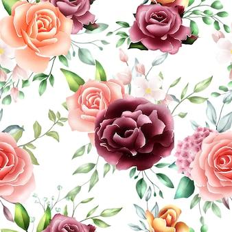 Aquarelle motif floral feuilles sans soudure