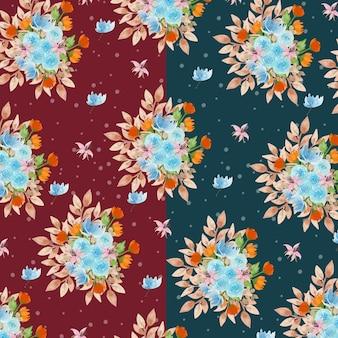 Aquarelle motif floral avec fond vert marine et marron