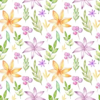 Aquarelle motif floral sans soudure