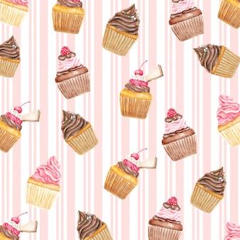 Aquarelle de motif de petits gâteaux cerises et gaufres sweety