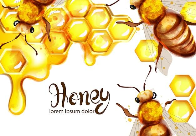 Aquarelle nid d'abeille et abeilles
