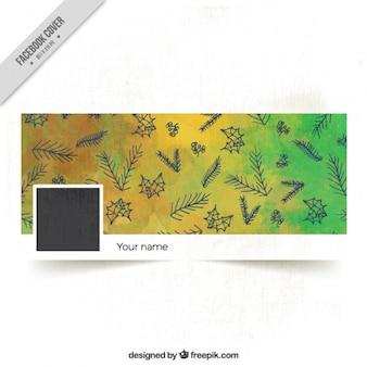 Aquarelle noël couverture facebook avec des feuilles