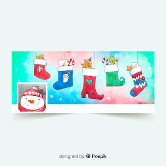 Aquarelle noël design facebook couverture