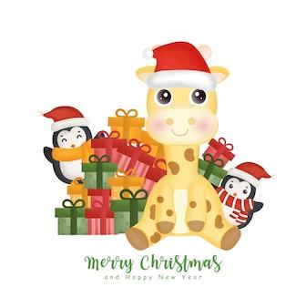 Aquarelle de noël avec une girafe mignonne, un pingouin et des coffrets cadeaux pour cartes de voeux, invitations, papier, emballage.