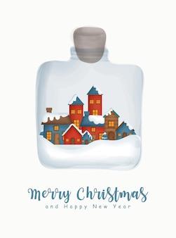 Aquarelle de noël avec le village de neige dans un pot pour carte de voeux carte de voeux de nouvel an.