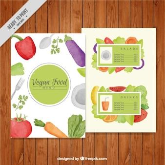 Aquarelle nourriture végétalienne menu modèle