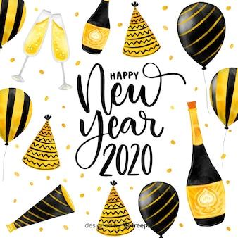 Aquarelle nouvel an 2020 avec des ballons