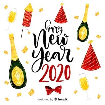Aquarelle nouvel an 2020 avec du champagne