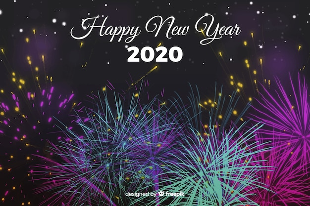 Aquarelle nouvel an 2020 avec feux d'artifice