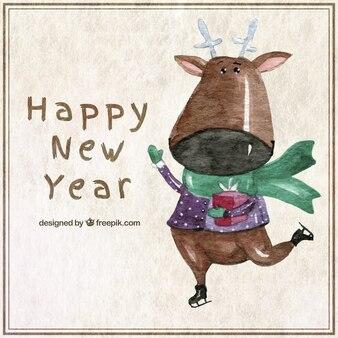 Aquarelle nouvelle carte de l'année avec un renne