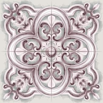 Aquarelle d'ornement de tuile ou de mosaïque