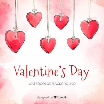 Aquarelle ornements fond saint valentin