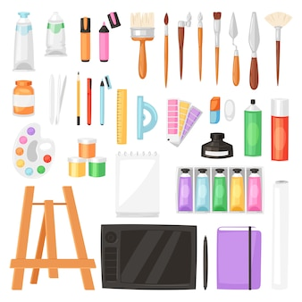 Aquarelle d'outils d'artiste avec palette de pinceaux pour les peintures de couleur sur toile pour les illustrations en illustration de studio d'art peinture artistique sur fond blanc