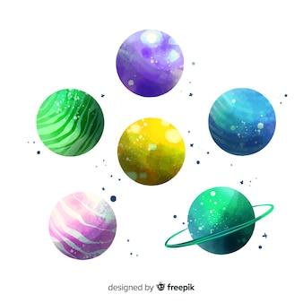 Aquarelle pack de différentes planètes