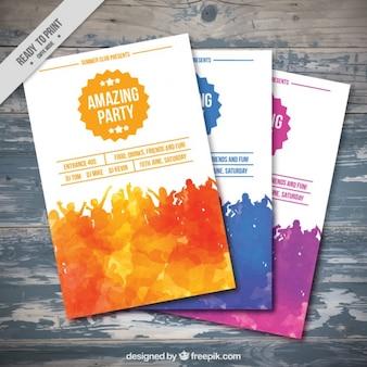 Aquarelle parti flyers