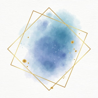 Aquarelle pastel avec cadre doré