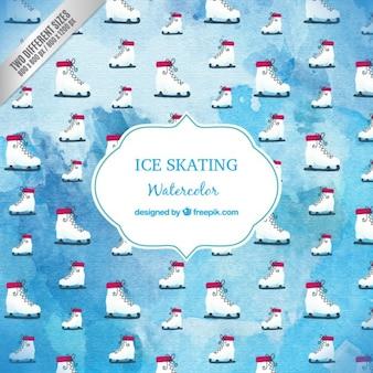 Aquarelle patinage sur glace fond