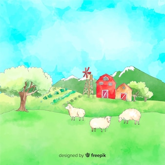 Aquarelle paysage agricole