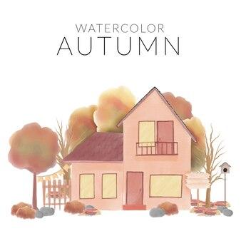 Aquarelle paysage d'automne avec maison de village et arbre
