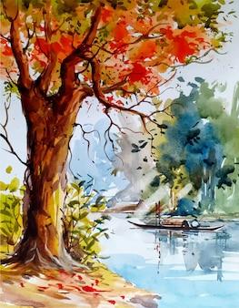 Aquarelle paysage croquis nature