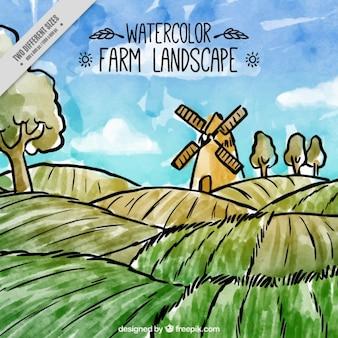 Aquarelle paysage de ferme avec un moulin