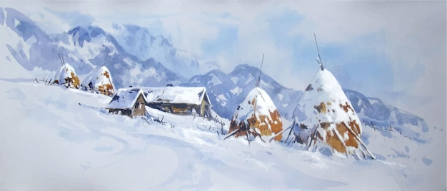 Aquarelle paysage d'hiver avec des montagnes