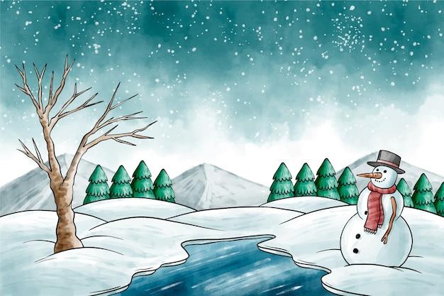 Aquarelle paysage d'hiver