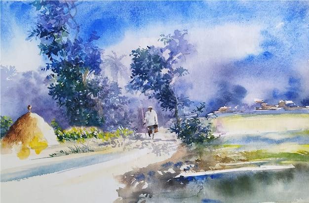 Aquarelle paysage peinture nature