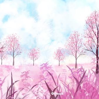 Aquarelle paysage de printemps