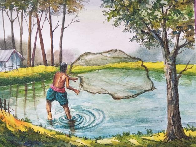 Aquarelle de pêche sur l'étang illustration dessinée à la main vecteur premium