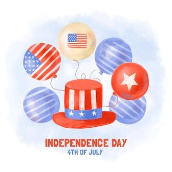 Aquarelle peinte à la main le 4 juillet - fond de ballons de fête de l'indépendance