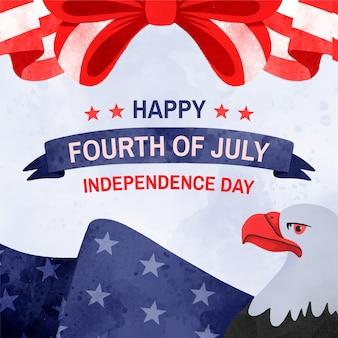 Aquarelle peinte à la main le 4 juillet - illustration de la fête de l'indépendance
