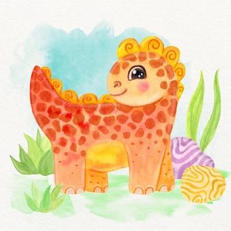 Aquarelle peinte à la main bébé dinosaure mignon