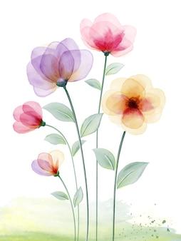 Aquarelle peinte à la main avec des fleurs colorées