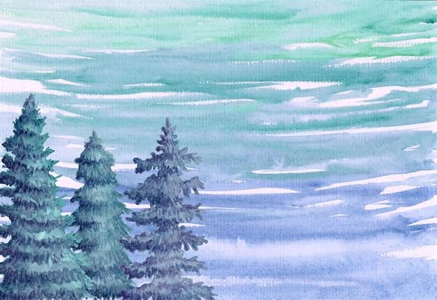 Aquarelle peinte à la main joyeux noël et fond de nouvel an