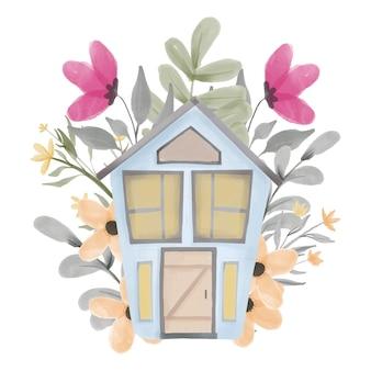 Aquarelle peinte à la main maison florale pour illustration intime