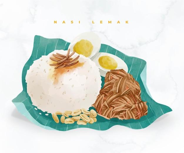 Aquarelle peinte à la main nasi lemak