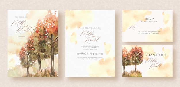 Aquarelle de peinture de main de panorama de forêt d'automne sur le fond d'invitation de mariage