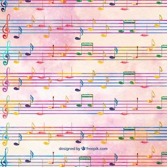 Aquarelle avec des pentagrammes et des notes musicales